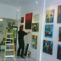 Setting up at The Wall Gallery