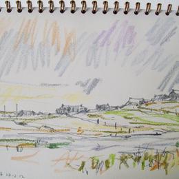 drawing Shawbost across the Loch