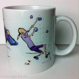 Climbing Cartoon Mug (front)