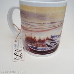 Winter Boats Whitburn Art Mug