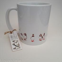 Puffins in a Row Mug