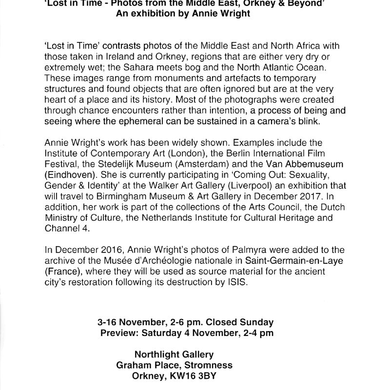 Press release for Lost In Time Exhibition