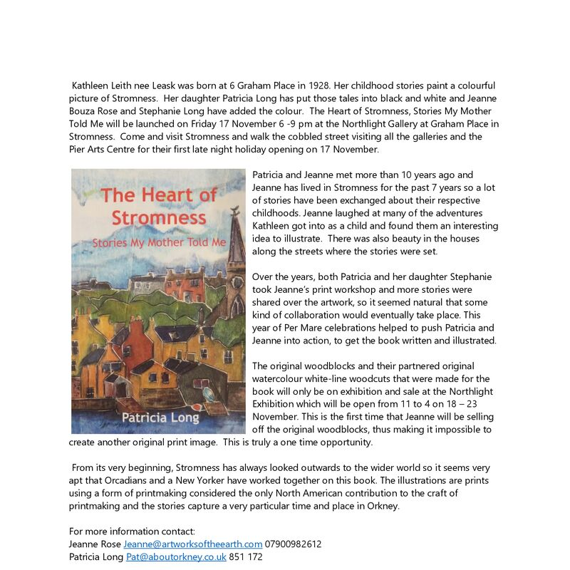 Press release for Patricia Long's book