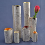 Single Scroll vases with script