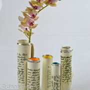 Single Scroll Bud vases with script