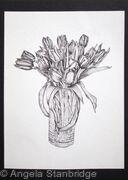 B/W Vase of Tulips