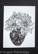 B/W Vase of Flowers
