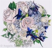 Bridal Bouquet Pen and Ink with Colour Wash