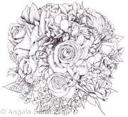 Bridal Bouquet  Black and White Pen and Ink