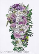 Bridal Bouquet Pen And Ink With Colour Wash #4
