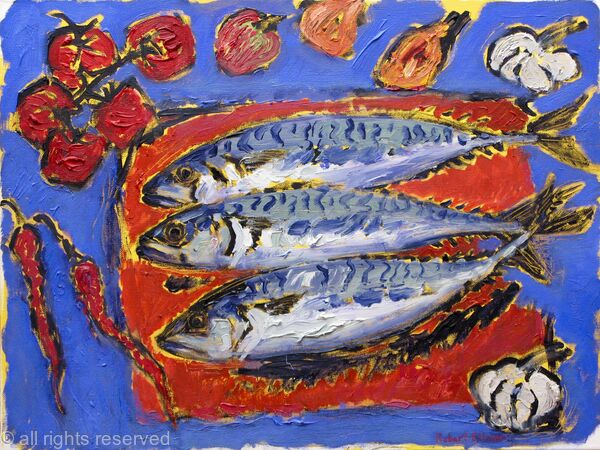 Mackerel with Tomatoes, Garlic and Peppers