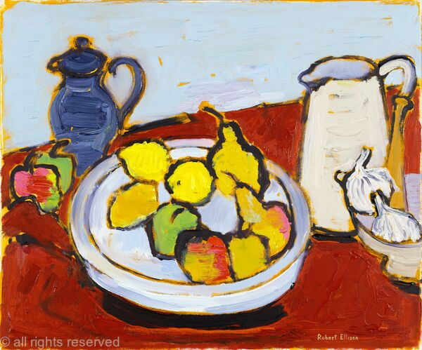 Fruitbowl, White Jug, Blue Coffeepot and Garlic