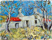 Derelict Cottage with Plough and Trees