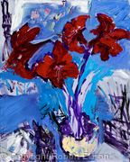 Red Amaryllis with Brushes and Knives