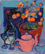Orange Tree and Pink Teapot