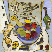 Still Life with Asparagus and Fruitbowl