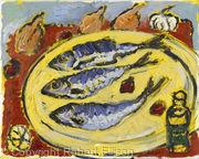 Three Herrings on Yellow Plate