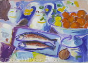 Two Sardines, Fruit-bowl and Jug