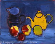 Yellow Coffeepot Black Jug and Apples