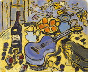Blue Ukulele on Yellow Tablecloth