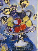 Still Life with White Fruit-bowl, fruit and flowers
