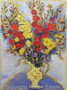 Red and Yellow Gladioli in Lemon Jug