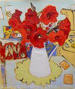 Red Amaryllis in White Jug