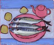 Three Mackerel with Pink Plate and Teapot