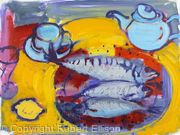 Three Mackerel with Pale Blue Teapot and Cup