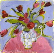 Tulips in Checkered Jug