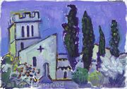 Barga Church and Fir Trees