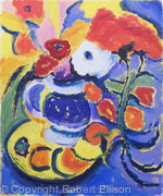 Blue and White Jug, Fruit and Flowers