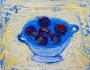 Plums in Grey and Blue Bowl
