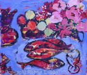 Four Fish in Red with Fruit and Flowers
