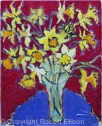 Daffodils on Blue Tablecloth