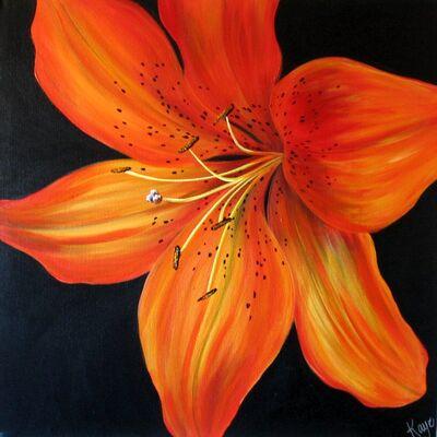 Tiger Lily - Acrylic on box canvas