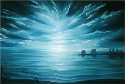 teal twilight   oil on box canvas