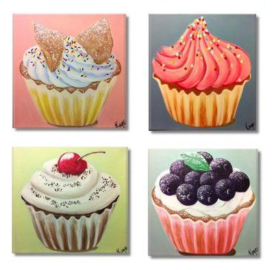 Cupcakes Set Of 4 Paintings Acrylic