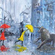 Girls dancing in the rain