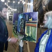 Dan Llywelyn Hall with Paula Gabb at the Custard Factory