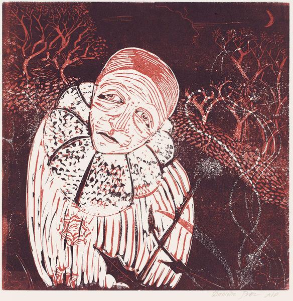 Pierrot in the garden at midnight