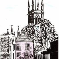 Hampton St Mary linocut