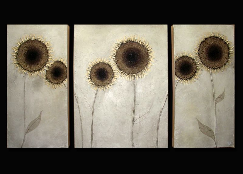 Triptych Golden Sunflowers