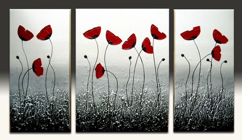 Triptych Rime Poppies