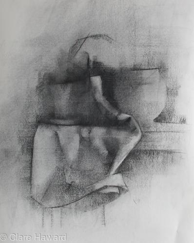 Still Life (Ceramics and Tea Towel)