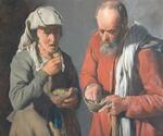 Two Peasants Eating - Copy of original by George de la Tour