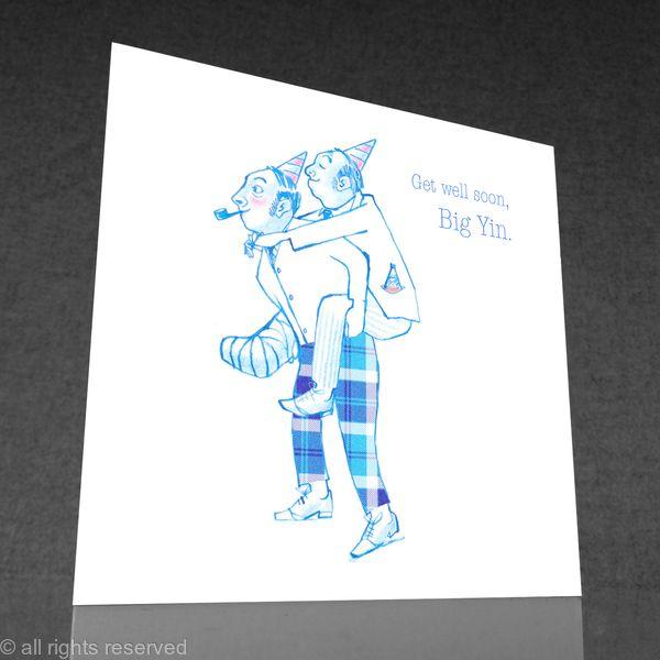 1 x get well soon, Big Yin greetings card