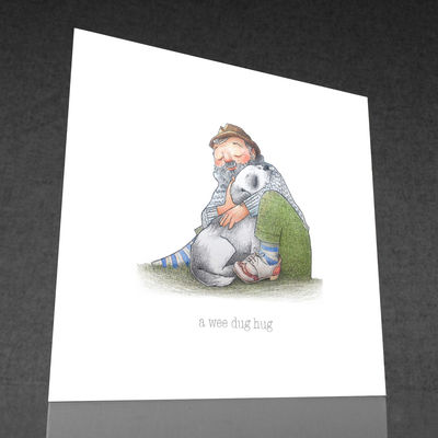 1 x a wee dug hug greetings card