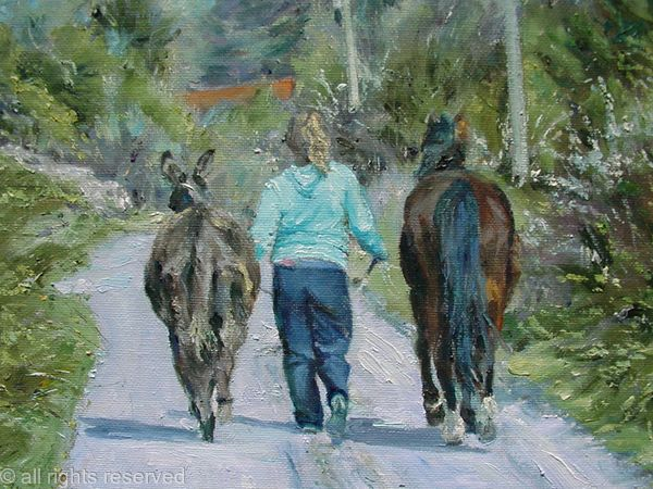 Girl with Horse and Donkey at The Burren