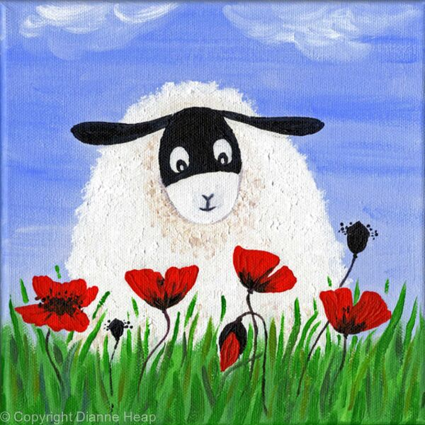 SHEEP IN POPPIES  No.6155